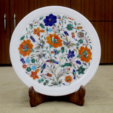Decorative Wall Plate, White Marble Inlaid With Semi Precious Gemstones, Floral Pietra Dura Inlay Craft Work, Handmade Serving Plate 12""