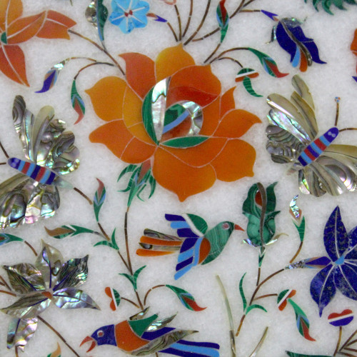 """Decorative Wall Plate, White Marble Inlaid With Semi Precious Gemstones, Floral Pietra Dura Inlay Craft Work, Handmade Serving Plate 12"""""""