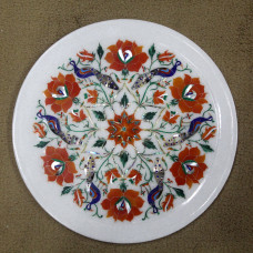 "Pietra Dura Wall Plate, Handmade White Marble Inlay Serving Plate, Inlaid with Semi Precious Gemstones, Decorative Wall Plate 12"" x 12"" Inches"