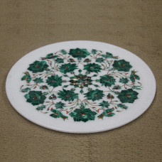 "Beautiful Malachite Wall Plate Inlaid With Semi Precious Gemstones, Floral Design Work Handmade Serving Plate For Home Decor 12"" x 12"" Inch"