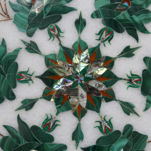 """Beautiful Malachite Wall Plate Inlaid With Semi Precious Gemstones, Floral Design Work Handmade Serving Plate For Home Decor 12"""" x 12"""" Inch"""
