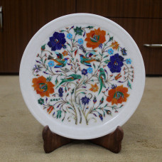 Pietra Dura Wall Plate With Parrot and Floral Design Work Handmade White Marble Decorative Serving Plate For Home Decor Inlaid With Stones