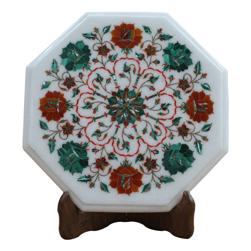 Floral Table, White Marble Inlaid With Semi Precious Gemstones Rose Flower Design Pietra Dura Craft Work, A unique Art Piece For Home Decor