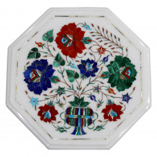 """Table Top Design of Tree of Life White Marble Inlaid With Semi Precious Gemstones Beautiful Pietra Dura Craft Work, Antique Side Table 12"""""""