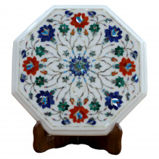 Marble Side Table With Pietra Dura Craft Floral Design Inlaid With Semi Precious Gemstones , Antique Table For Home Decor, Handmade Table