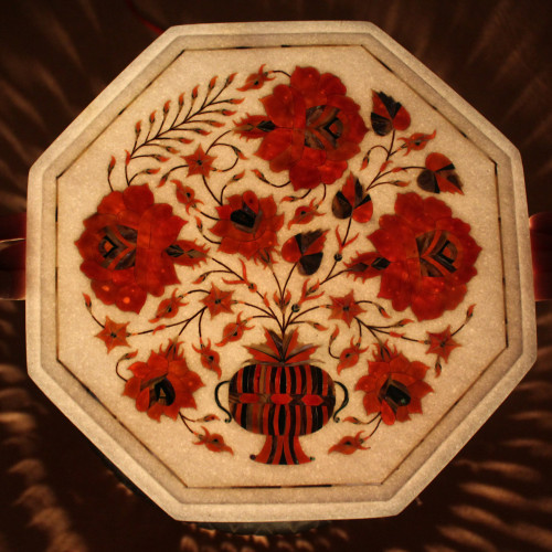 Floral Side Table With Pietra Dura Craft Work Inlaid With Semi Precious Gemstones, Tree of Life Design Work, Antique Table For Home Decor