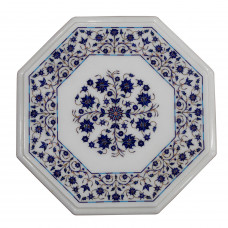 Laspis Lazuli Table, White Marble Inlaid With Semi Precious Gemstones,Fine Pietra Dura Craft Work, Handmade Side Table Top With Wooden Stand