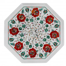 Octagonal End Table Top White Marble Inlaid With Semi Precious Gemstones Floral Inlay Work Handmade Side Table Top For Home Decor