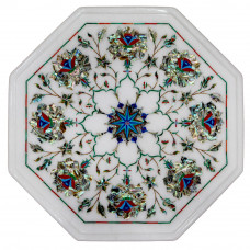 Beautiful White Marble Inlay Side Table Top With Complimentary Wooden Stand Handmade Art Piece For Home Decor