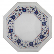 Lapislazuli Floral White Marble Side Table Top Inlaid With Semi Precious Gemstones Beautiful Inlay Work Pietra Dura Octagonal Shape