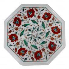 Bedside Table Top White Marble Inlaid With Semi Precious Gemstones Carnelian Floral Design and Malachite Bird Design Handmade Art Piece