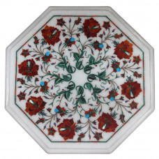 Bedside White Marble Table Top Inlaid With Semi Precious Gemstones Fine Inlay Art Work By Indian Artisan SIze 12 x 12 Inches