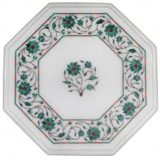 Floral Side Table Top White Marble Inlaid With Semi Precious Gemstones Handmade Art Piece For Home Decor