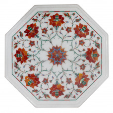 Octagonal White Marble Inlay Side Table Top Inlaid Semi precious Gemstones Floral Design Work Handmade Art Piece For Home Decor