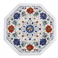 "15"" Pietra Dura Side Table, Floral Art Work Handmade Table For Home Decor 