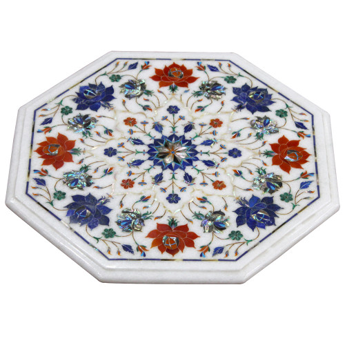 """15"""" Pietra Dura Side Table, Floral Art Work Handmade Table For Home Decor 
