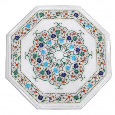 "15"" x 15"" Marble Inlay Table Top, Center Table, End Table, White Marble Inlaid With Semi Precious Gemstones, Pietra Dura Craft Work"