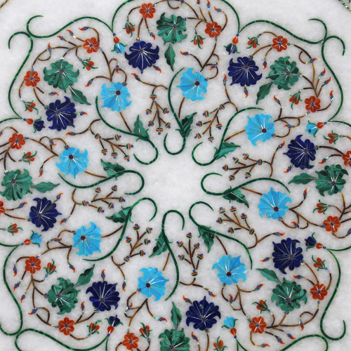 """15"""" x 15"""" Marble Inlay Table Top, Center Table, End Table, White Marble Inlaid With Semi Precious Gemstones, Pietra Dura Craft Work"""
