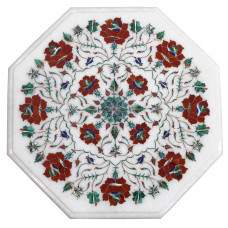 Handmade Table With Pedestal Base, White Marble Table Top Inlaid With Semi Precious Gemstones   Pietra Dura Craft Work