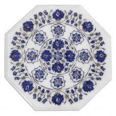 Mosaic White Marble Inlay Table Top, Inlaid With Semi Precious Gemstones Lapis Lazuli Table Top, Pietra Dura Fine Craft Work, Handmade Art