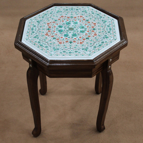 """15"""" x 15"""" Table Top, White Marble Inlaid With Semi Precious Gemstones Fine Inlay Art Work Handmade Table Top, Center Table Top, End Table"""