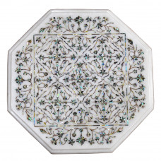 Fine Work Table Top, White Marble Inlaid With Semi Precious Gemstones, Completely Handmade Pietra Dura Craft Work, Unique Table Top