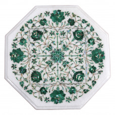 Unique Table Top, White Marble Table Top Inlaid With Semi Precious Gemstones, Pietra Dura Vintage Inlay Art Work Handmade Table Top For Home Decor