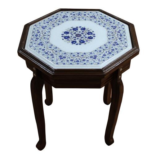 "15"" x 15"" Table Top, White Marble Inlaid With Semi Precious Gemstones , Lapis Lazuli Table Top, Handmade Pietra Dura Craft Work Table Top"
