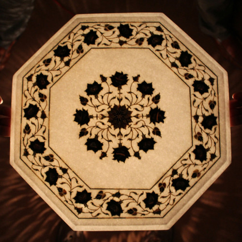 Floral Table Top, Bedside Table Top, White Marble Inlaid With Semi Precious Gemstones, Antique Table Top, Pietra Dura Vintage Art Work