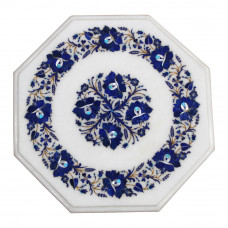 Mosaic Table Top White Marble Inlaid With Semi Precious Gemstones Table Top With Wooden Pedestal, Handmade Pietra Dura Table Top