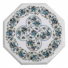 Marble Inlay Table Top Handmade Table Top White Marble Inlaid With Semi Precious Gemstones, Pietra Dura Vintage Craft Work, Home Decor
