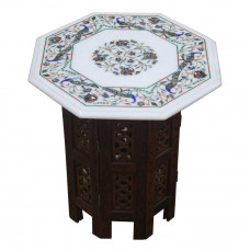 "15"" White Marble Table Top, Marquetry Peacock Design Pietra Dura Inlay Craft Work Inlaid With Semi Precious Gemstones."