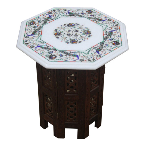 """15"""" White Marble Table Top, Marquetry Peacock Design Pietra Dura Inlay Craft Work Inlaid With Semi Precious Gemstones."""
