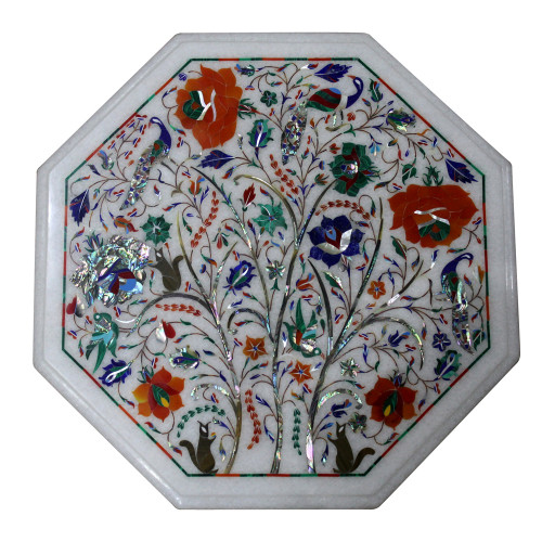 """15"""" Pietra Dura Table, White Marble Inlaid With Semi Precious Gemstones, Marquetry and Floral Design Work Handmade Table For Home Decor"""