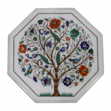 White Marble Table Top, Inlaid With Semi Precious Gemstones Tree of Life Table Top, Pietra Dura Inlay Table, Octagonal Shape For Home Decor
