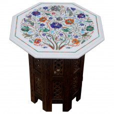 """Antique Table For Home, Bird and Floral Art Work Unique Table For Home, Handmade Pietra Dura Table 15"""" Size Inlaid Semi Precious Stones"""