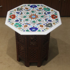 "18"" White Marble Table WIth Wooden Pedestal, Beautiful Inlay Art With Floral and Marquetry Work Pietra Dura Vintage Art Work."