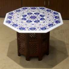 "24"" Beautiful Floral Lapis Lazuli Table Top With Wooden Pedestal, Pietra Dura Craft Work White Marble With Semi Precious Gemstones Table"
