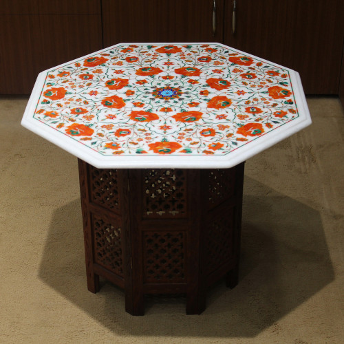 "24"" Carnelian Table, White Marble Inlaid With Semi Precious Gemstones. Marble Inlay Coffee Table, Center Table For Home, Pietra Dura Table"