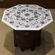 "24"" Antique Coffee Table, White Marble Inlaid With Semi Precious Gemstones,Handmade Pietra Dura Table For Home Decor, Floral & Marquetry Art"