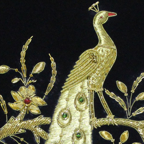 Embroidery Panel Peacock Golden Thread