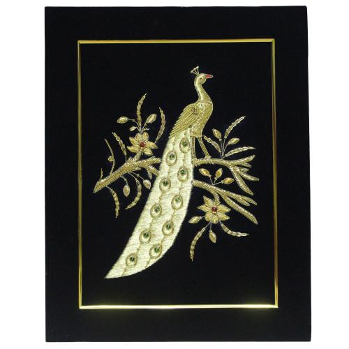 Embroidery Panel Peacock Golden Thread