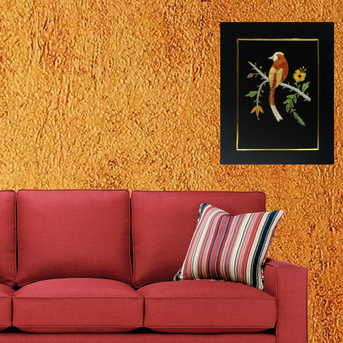 Beautiful Bird Design Zardozi Embroidery Wall Hanging Panel