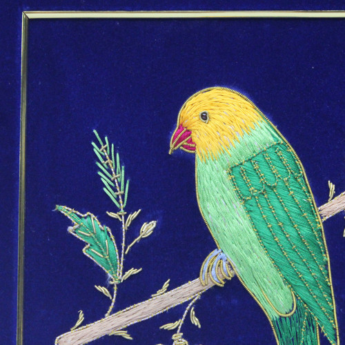 Embroidery Wall Hanging Panel Parrot Design Fine Thread Work