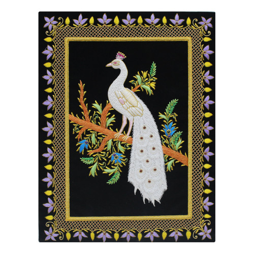 Beautiful Handmade Peacock Design Wall Hanging Panel Zardozi Embroidery Art Work