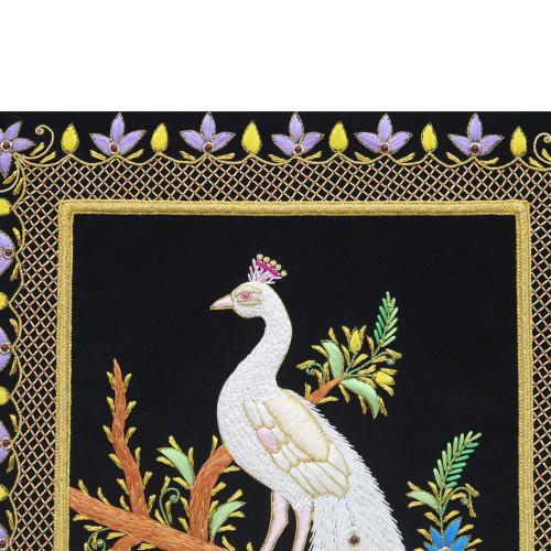 Beautiful Handmade Peacock Design Wall Hanging Panel Zardozi Embroidery Art Work