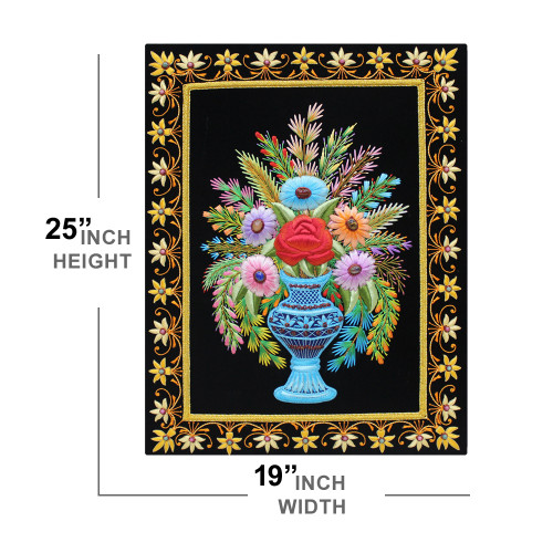 Wall hanging Panel Embroidery Work Fine Thread Craft On Cloth Flower Vase Design