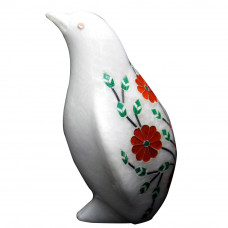 Floral Design White Alabaster Marble Penguin Statue For Home Decor