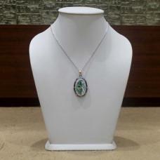 Unique Pendant White Onyx Inlaid With Semi Precious Gemstones