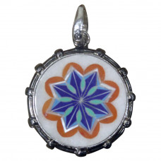 Floral Pendant Necklace White Onyx Inlaid With Semi Precious Gemstones Handmade Piece For Girls